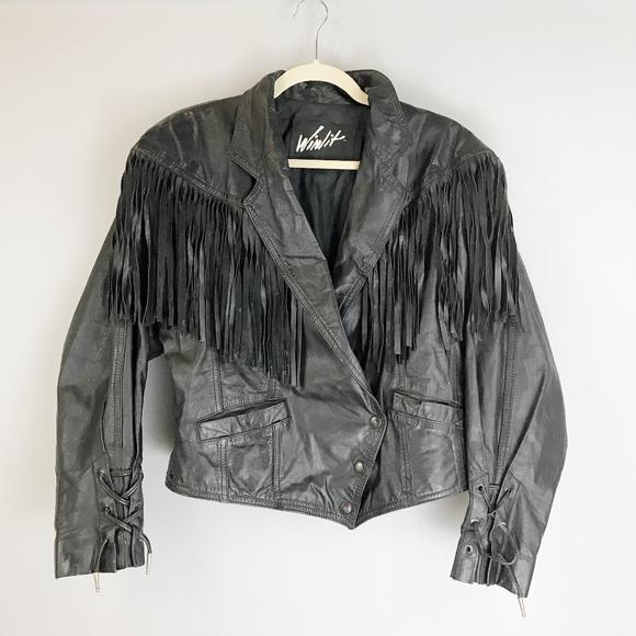 Vintage Jackets & Blazers - VTG WINLIT Fringed Leather Jacket